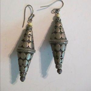 Pewter Look Gray Chinese Lantern Earrings Pierced